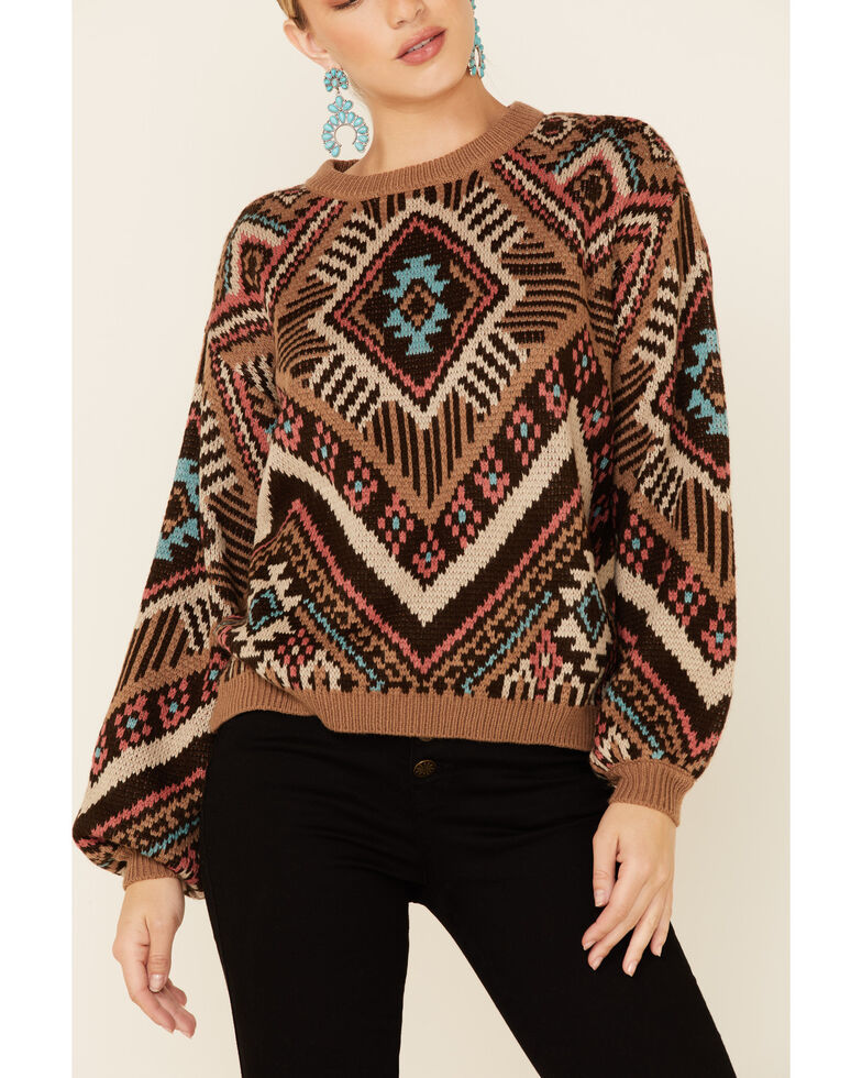 Rock & Roll Denim Women's Brown & Coral Aztec Print Pullover Sweater , Brown, hi-res