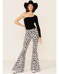 Saints & Hearts Women's Leopard Print Flare Jeans, Multi, hi-res