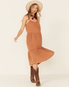 Very J Women's Tie Strap Linen Sundress, Rust Copper, hi-res
