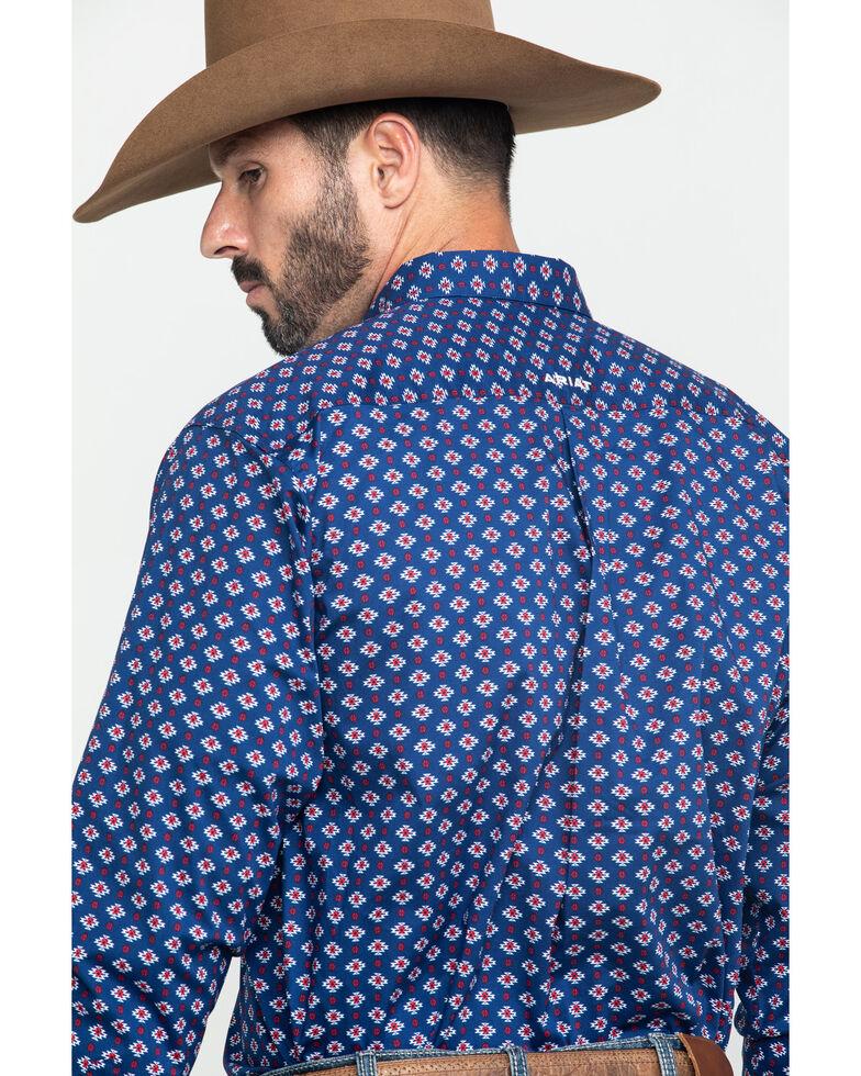 Ariat Men's Glenvar Stretch Aztec Print Long Sleeve Western Shirt - Big , Blue, hi-res
