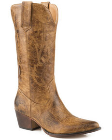 Roper Women's Nettie Western Boots - Medium Toe, Tan, hi-res