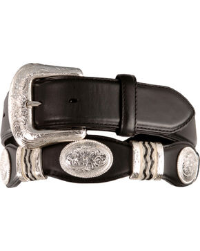 Tony Lama Scalloped Leather Belt, Black, hi-res