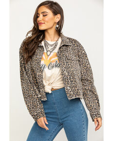 Free People Women's Brown Cheetah Print Cropped Denim Jacket, Brown, hi-res