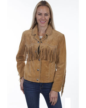 Leatherwear By Scully Women's Suede Snap Fringe Jacket , Rust Copper, hi-res
