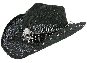 Peter Grimm Women's Crystal Skull Black Straw Hat, Black, hi-res