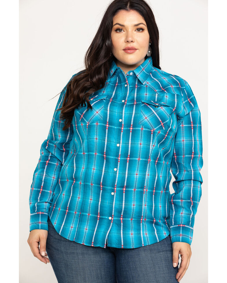 White Label by Panhandle Women's Dobby Plaid Long Sleeve Shirt - Plus, Blue, hi-res