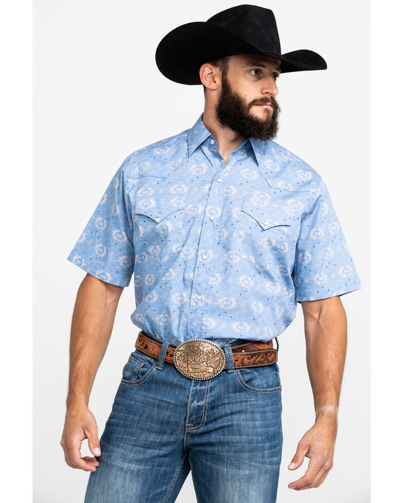 Ely Walker Men's Assorted Aztec Print Snap Short Sleeve Western Shirt , Multi, hi-res