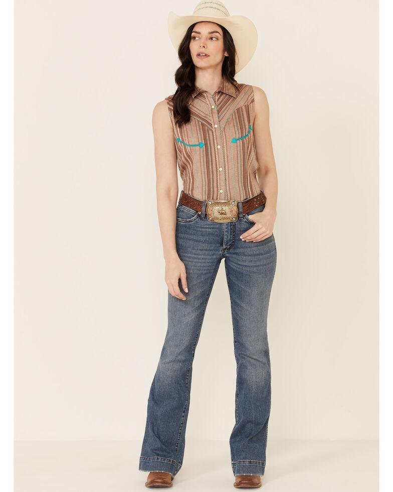 Panhandle Women's Retro Textured Stripe Sleeveless Snap Western Core Shirt , Brown, hi-res