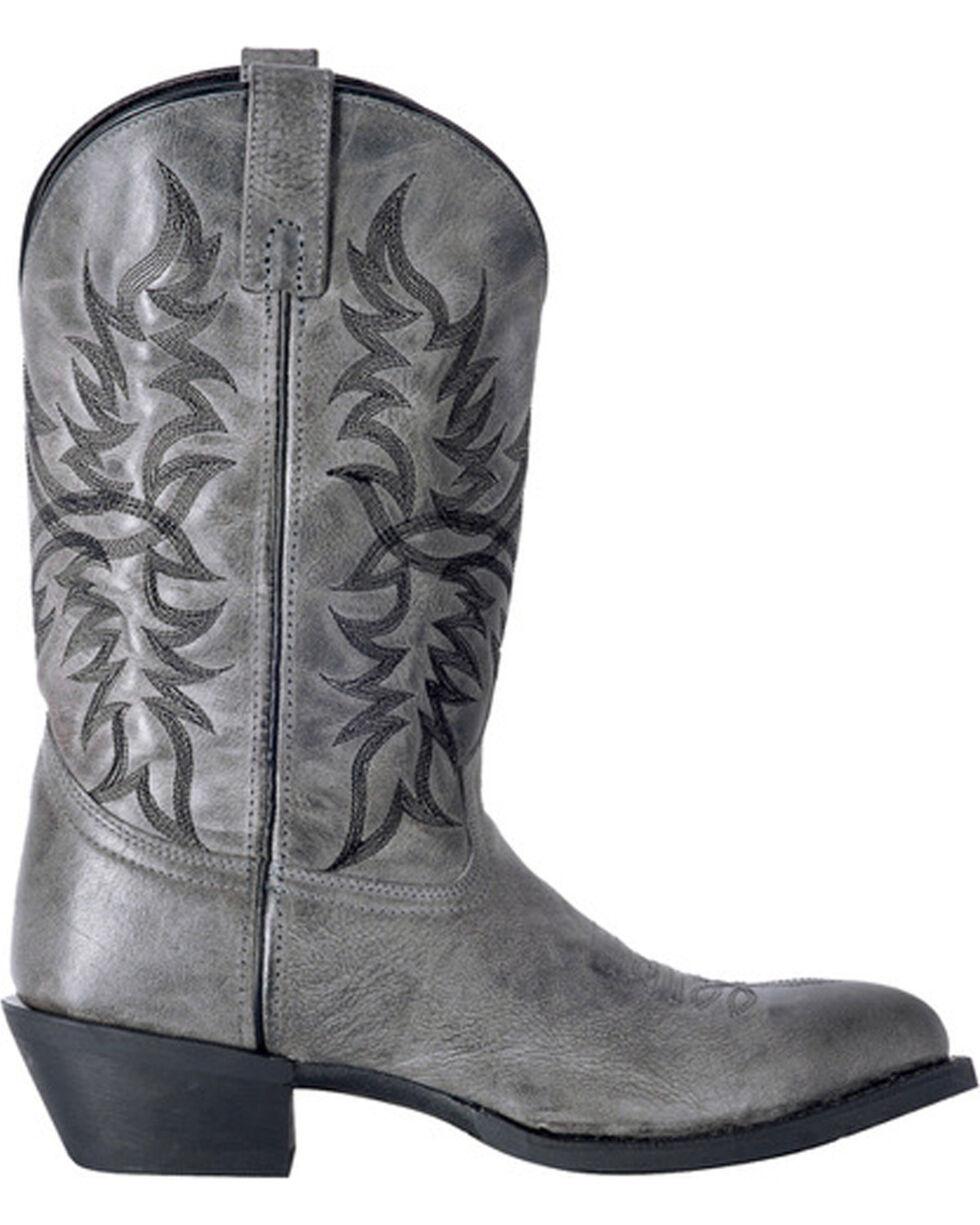 Laredo Men's Harding Grey Waxy Leather Cowboy Boots - Medium Toe, Grey, hi-res