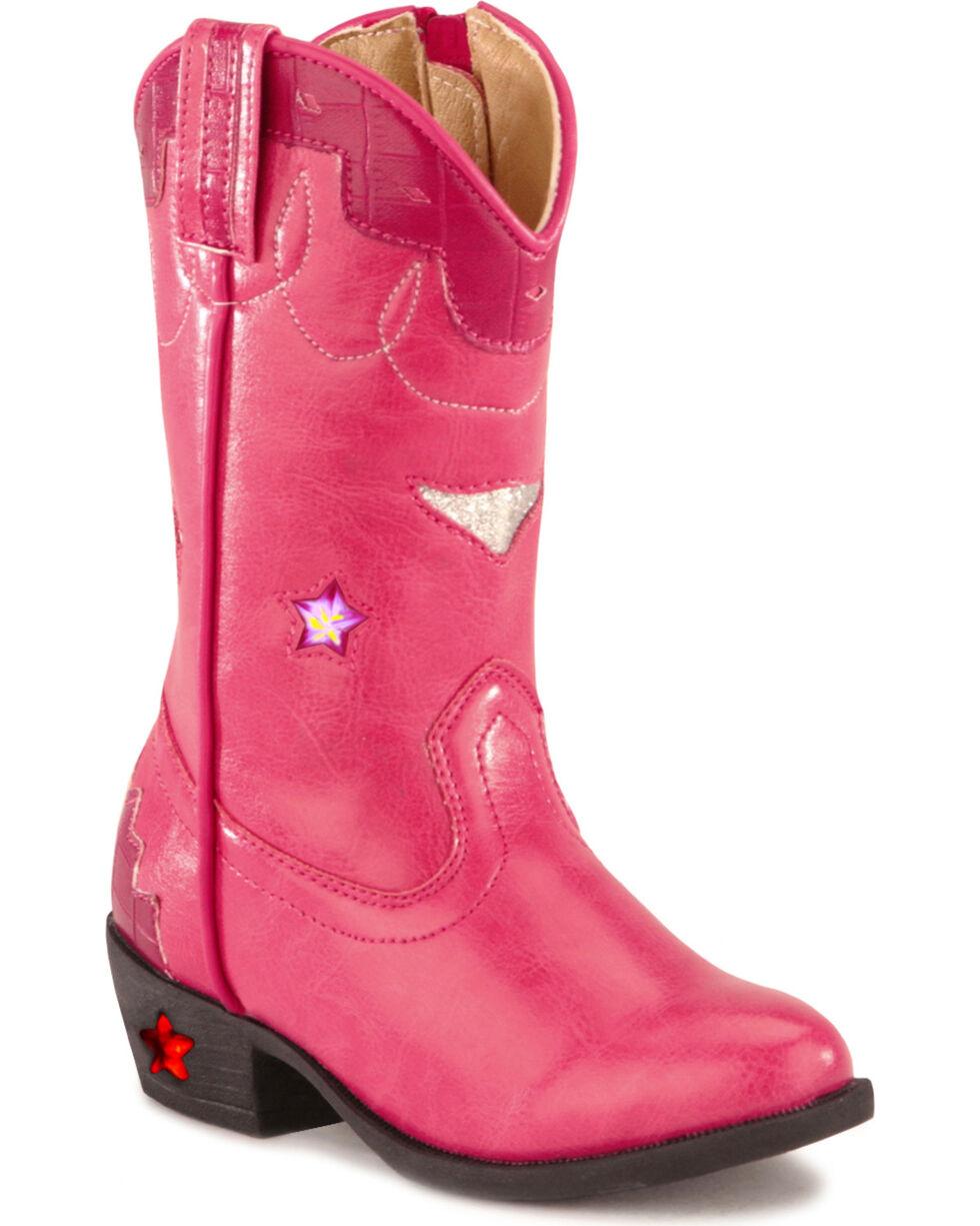 Smoky Mountain Girls' Stars Light Up Pink Boots, Hot Pink, hi-res