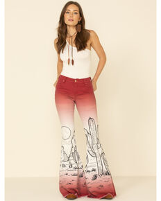 Ranch Dress'n Women's Cactus Flare Jeans, Wine, hi-res