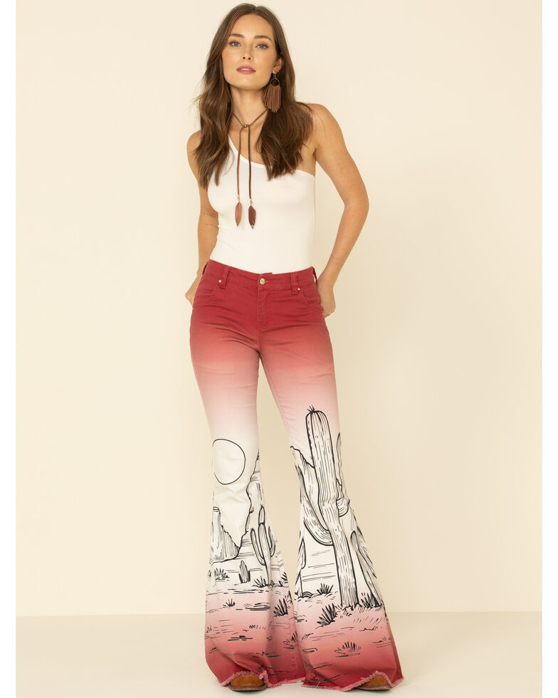 Ranch Dress'n Women's Cactus Flare Jeans, Wine, hi-res