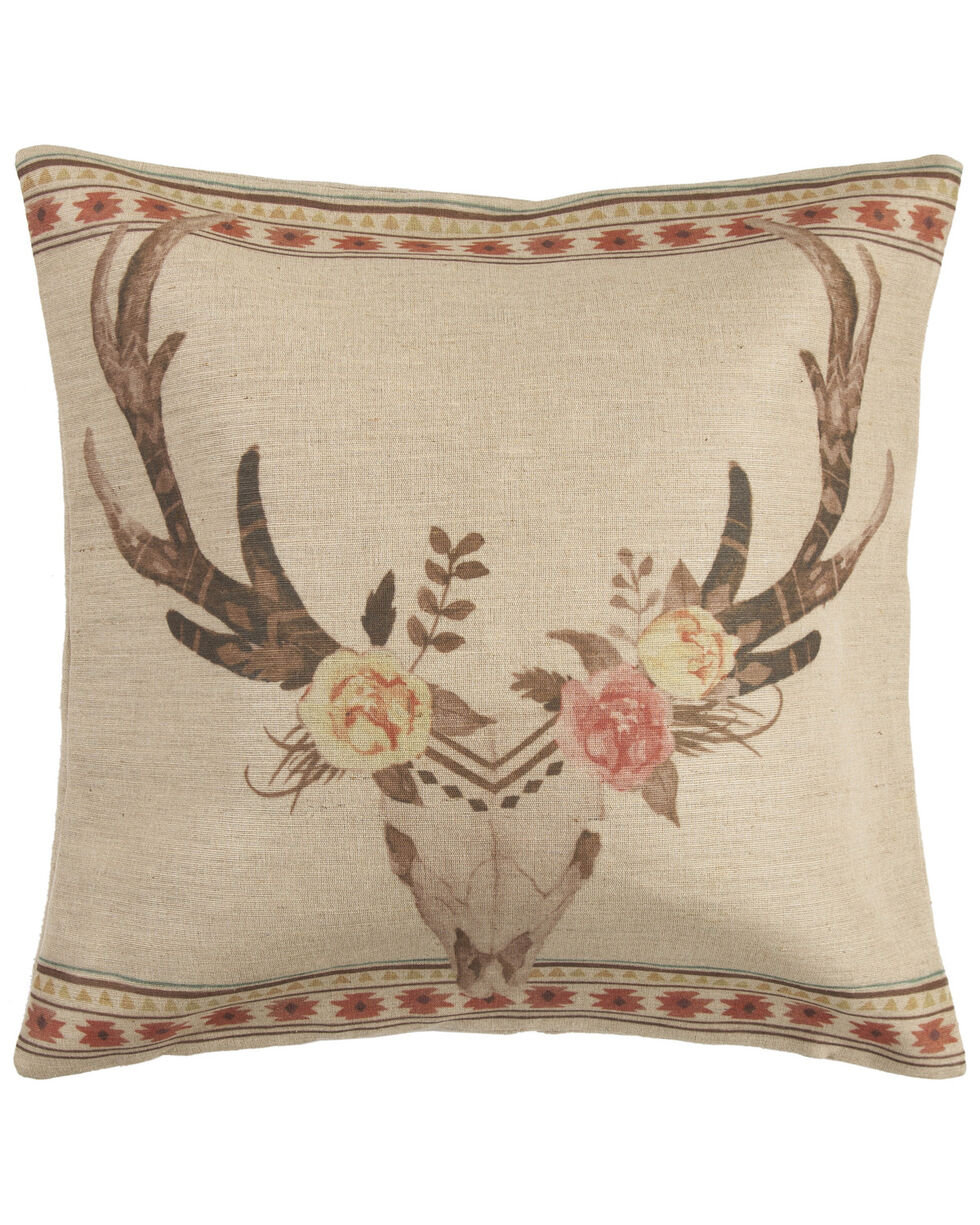 HiEnd Accents Burlap Skull With Flowers Pillow, Tan, hi-res