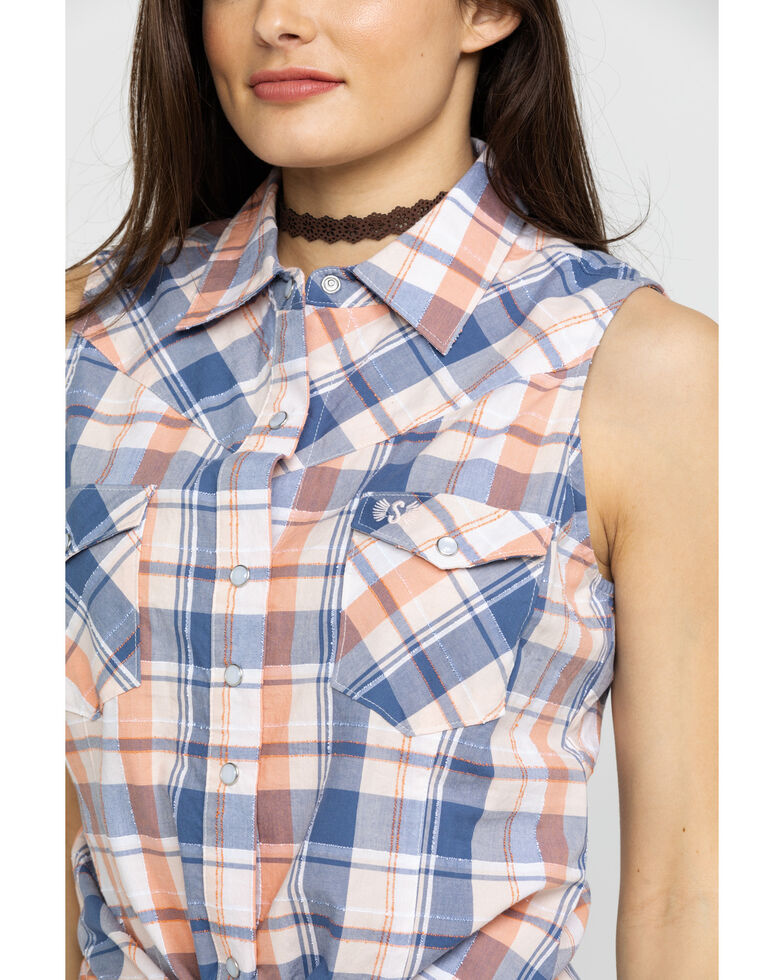 Shyanne Life Women's Blue Plaid Sleeveless Top, Coral, hi-res