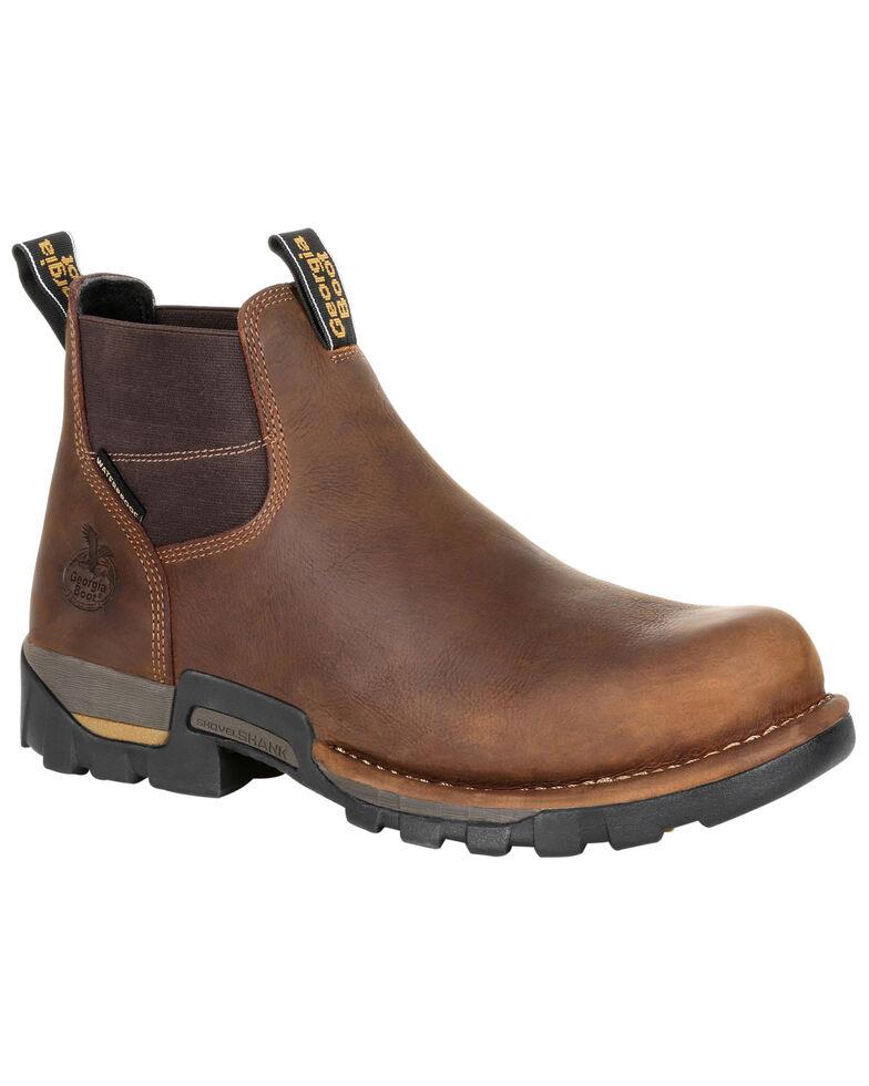 Georgia Boot Men's Eagle One Waterproof Chelsea Work Boots - Soft Toe, Brown, hi-res