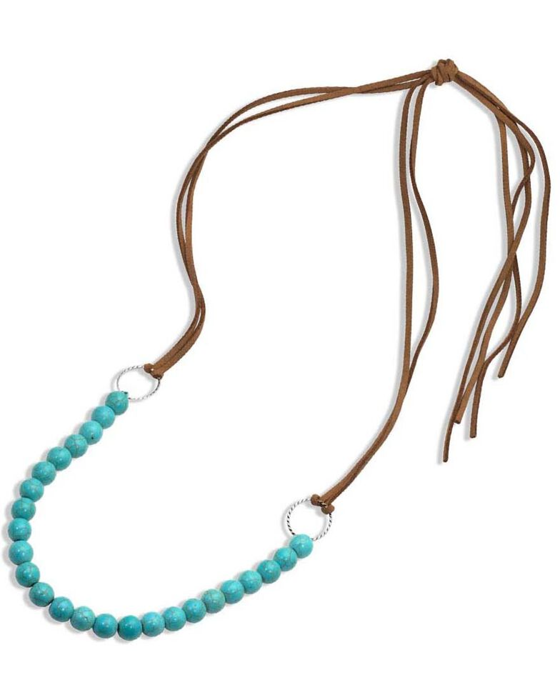 Montana Silversmiths Women's Coming Together Leather & Beaded Necklace, Turquoise, hi-res