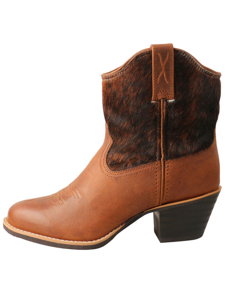 Twisted X Women's Hair-On Western Booties - Round Toe, Brown, hi-res