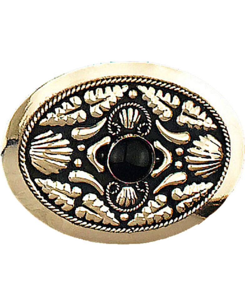 Western Express Men's German Silver With Onyx Belt Buckle , Silver, hi-res