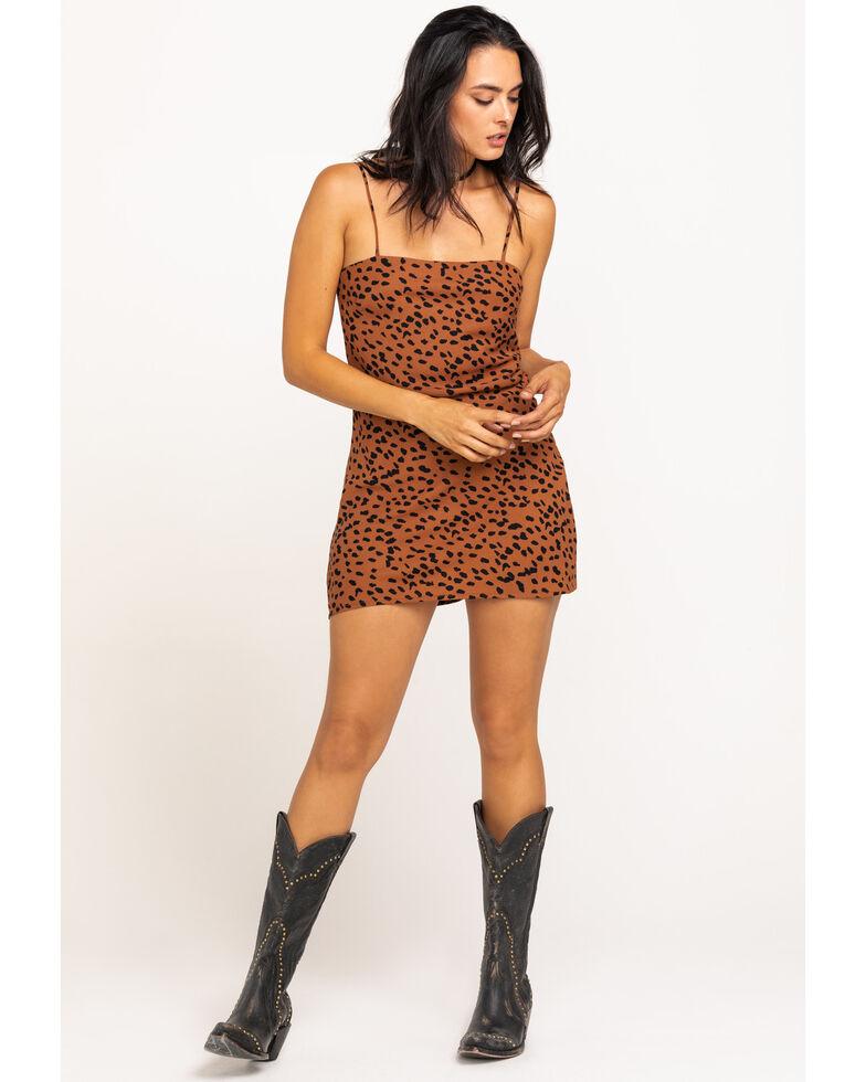 En Creme Women's Brown Leopard Open Back Mini Dress, Leopard, hi-res