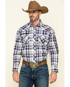 Wrangler Men's Prism Violet Med Plaid Logo Long Sleeve Western Shirt , Purple, hi-res