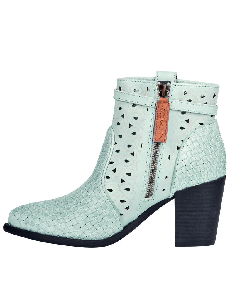 Dingo Women's Mint Be Famous Fashion Booties - Round Toe, Green, hi-res