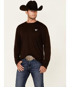 Cowboy Hardware Men's Brown Premium Logo Long Sleeve T-Shirt , Brown, hi-res