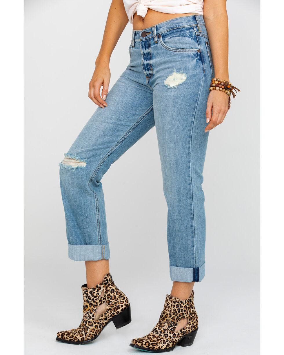 Wrangler Women's Factory Floor Light Destructed Boyfriend Jeans , Light Blue, hi-res