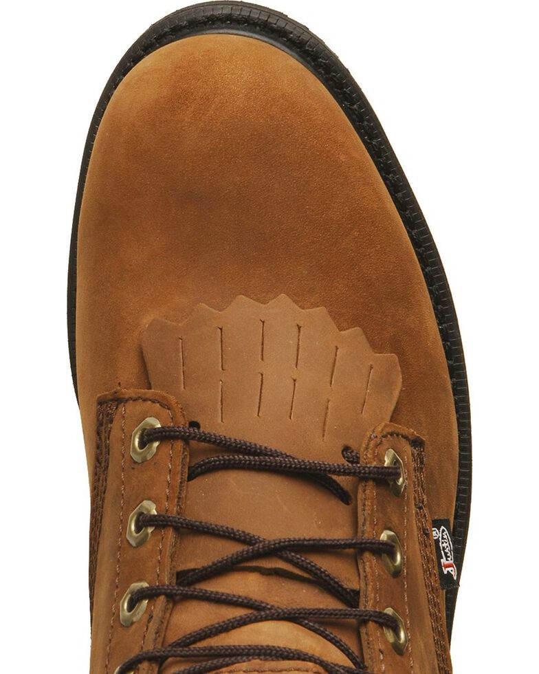 """Justin Men's Transcontinental 8"""" EH Waterproof Lace-Up Work Boots - Soft Toe, Aged Bark, hi-res"""