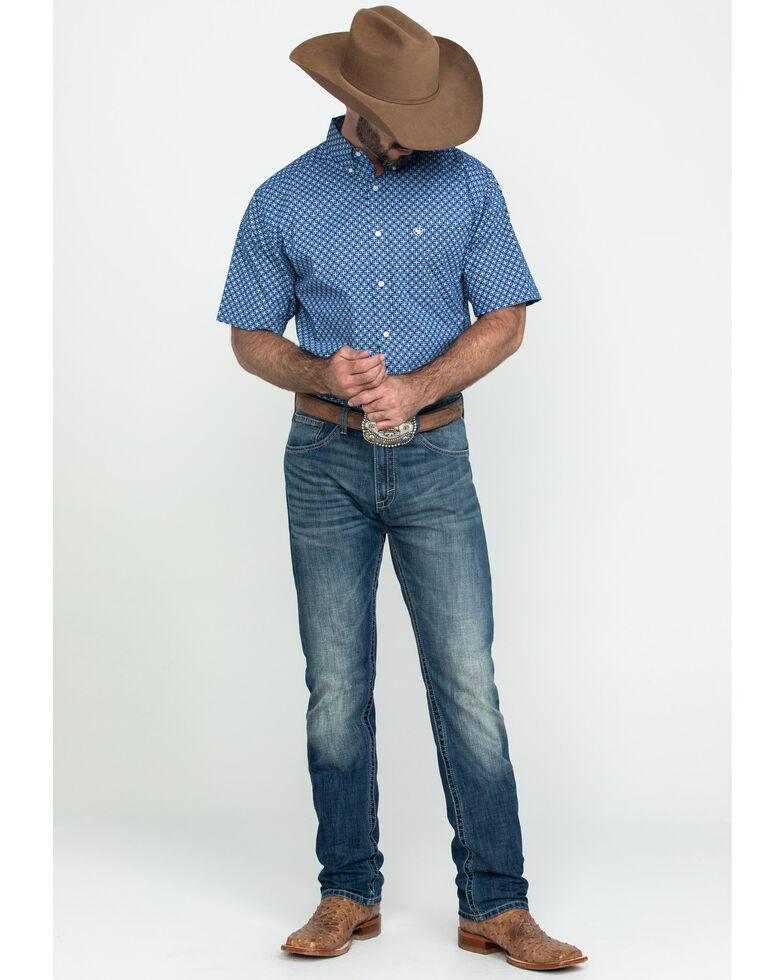 Ariat Men's Gladview Stretch Geo Print Short Sleeve Western Shirt - Tall , Blue, hi-res
