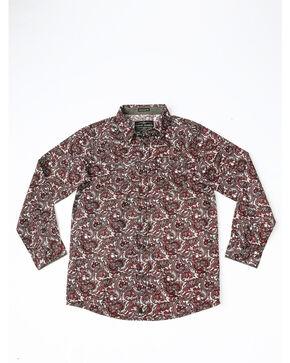 Cody James Boys' Lava Field Paisley Print Long Sleeve Western Shirt , Burgundy, hi-res