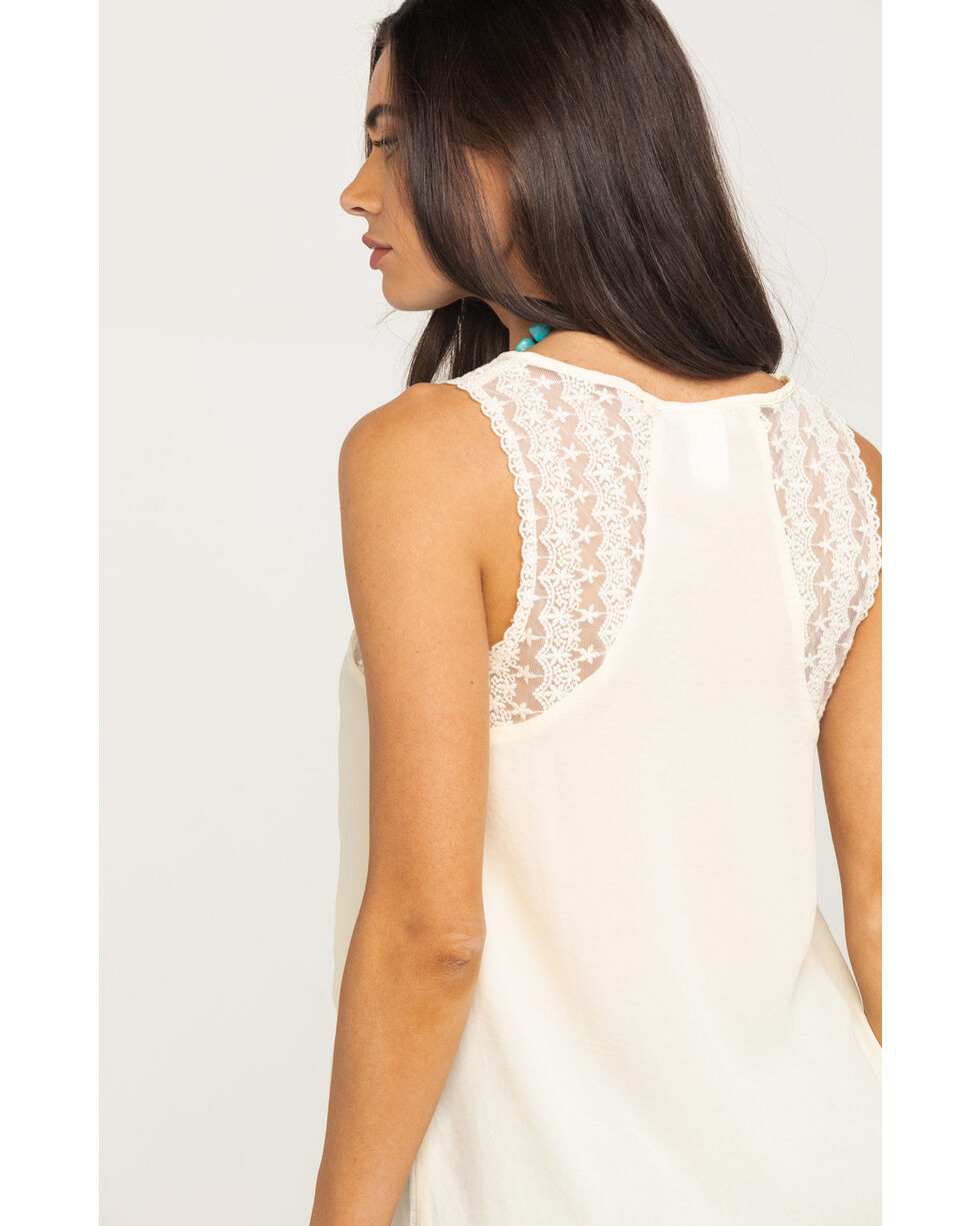 Panhandle Women's Ivory Lace Keyhole Tie Front Tank, Ivory, hi-res