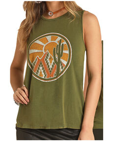 Rock & Roll Cowgirl Women's Southwest Mountain Sunset Graphic Muscle Tank , Olive, hi-res