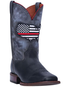 Dan Post Men's Thin Red Line Western Boots - Wide Square Toe, Black, hi-res