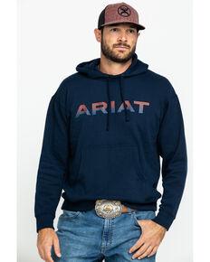 Ariat Men's Navy Logo Pullover Hoodie , Navy, hi-res