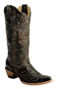 Corral Vintage Distressed Black with Lizard Inlay Cowgirl Boots - Snip Toe, Black, hi-res