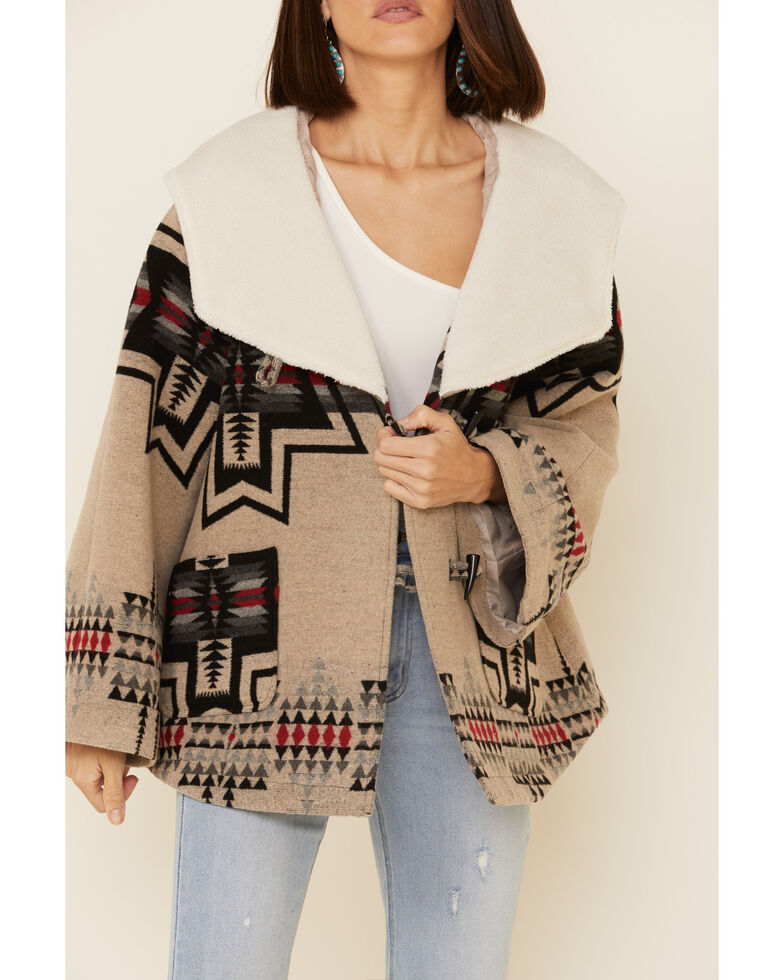 Powder River Outfitters Women's Ivory Jacquard Aztec Cape Coat , Ivory, hi-res