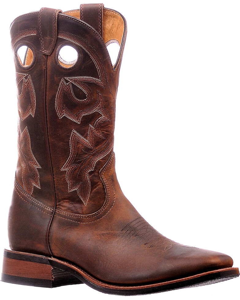 Boulet Men's Tan Spice Horseman Heel Cowboy Boots - Square Toe, Brown, hi-res
