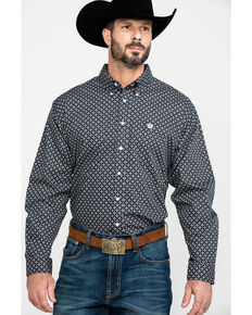 Cinch Men's Black Diamond Geo Print Long Sleeve Western Shirt , Black, hi-res