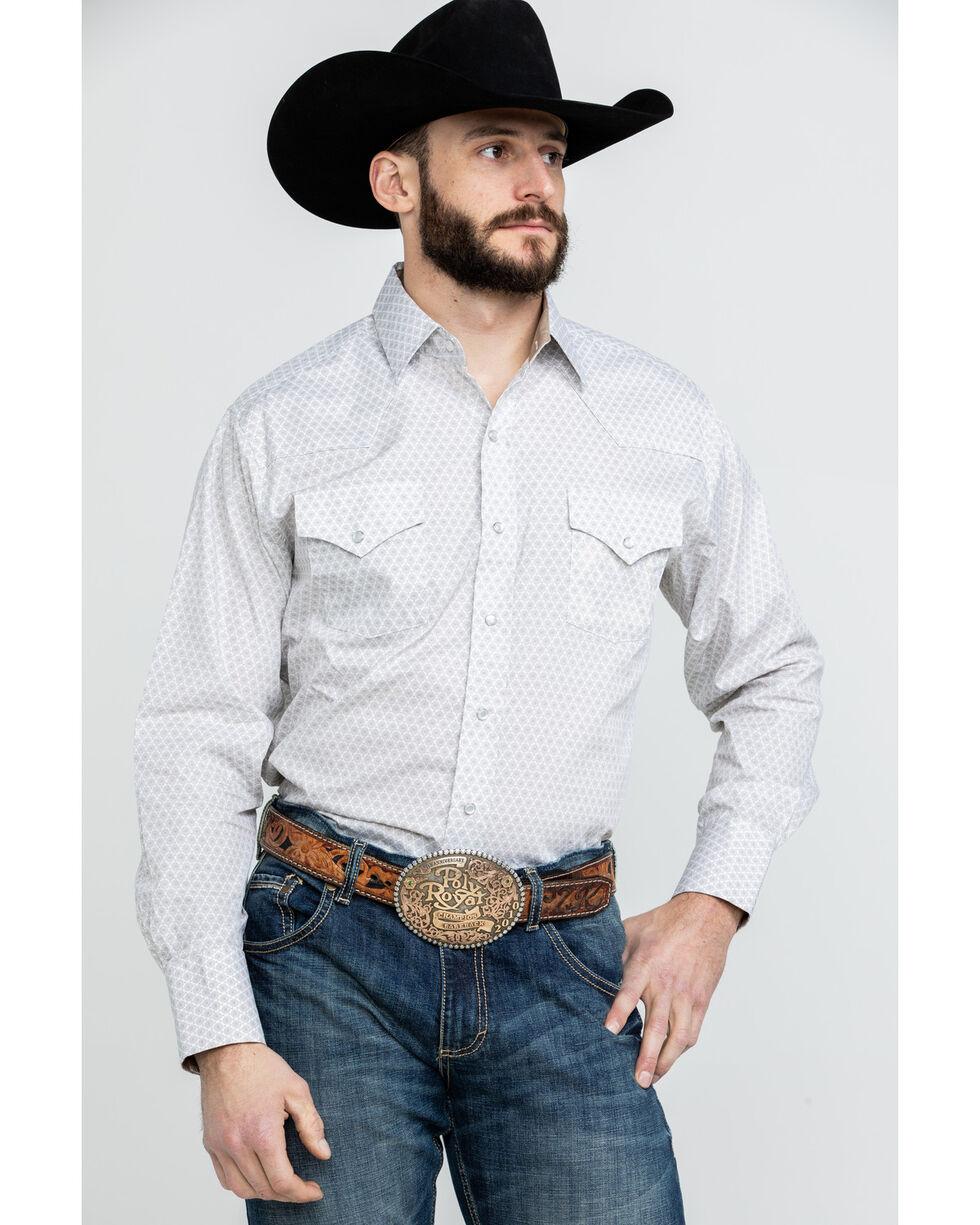 Ely Cattleman Men's Tan Print Long Sleeve Western Shirt , Tan, hi-res