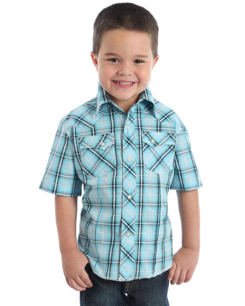 Wrangler Boys' Turquoise Fashion Snap Short Sleeve Western Shirt, Turquoise, hi-res