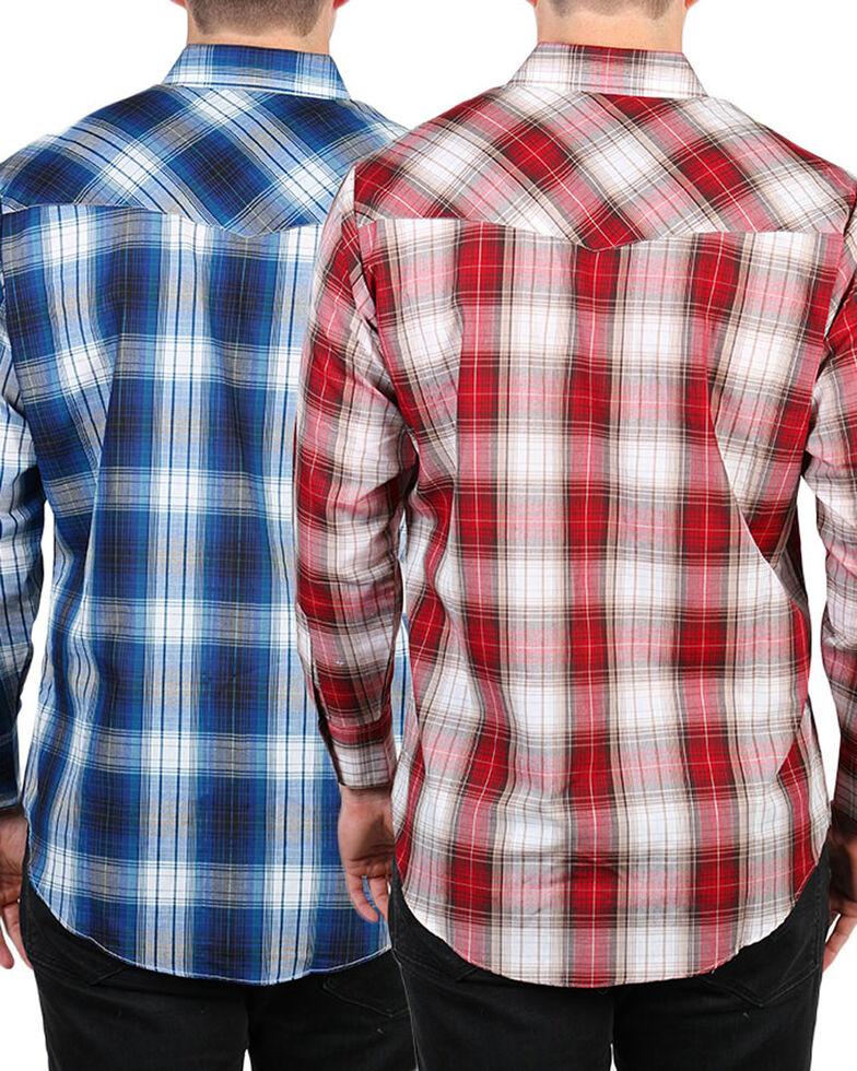Ely Cattleman Men's Assorted Textured Plaid Long Sleeve Western Shirt, Multi, hi-res