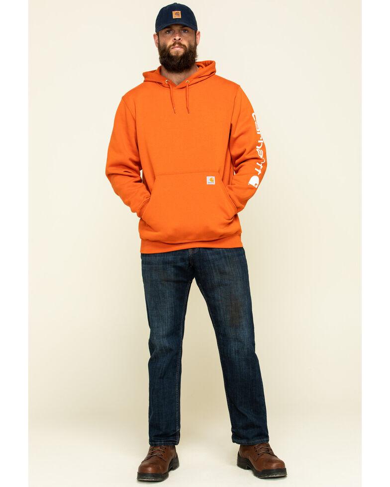 Carhartt Men's Harvest Orange Signature Sleeve Logo Hooded Work Sweatshirt - Big, Orange, hi-res