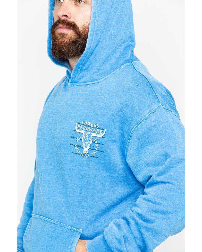 Cowboy Hardware Men's American Original Graphic Acid Wash Hooded Sweatshirt , Blue, hi-res