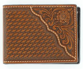 2d176fa2bc259 Nocona Basketweave w  Tooled Overlay Bi-fold Wallet.  29.99. Cody James Mens  ...