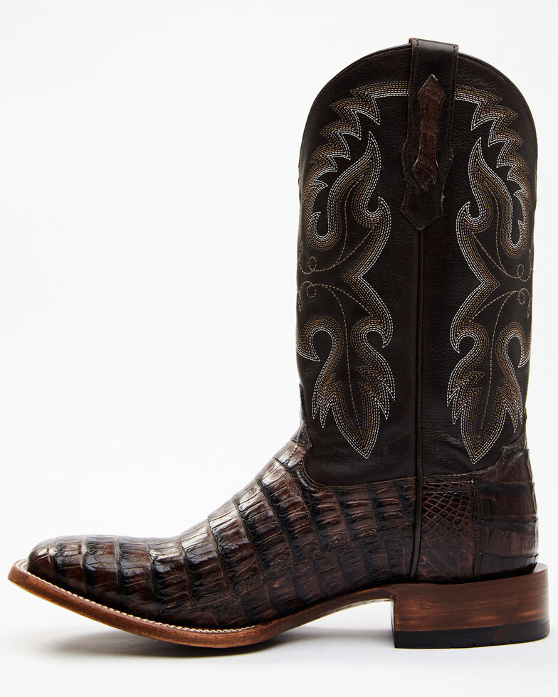 Cody James Men's Black Exotic Caiman Tail Skin Western Boots - Wide Square Toe, Black, hi-res