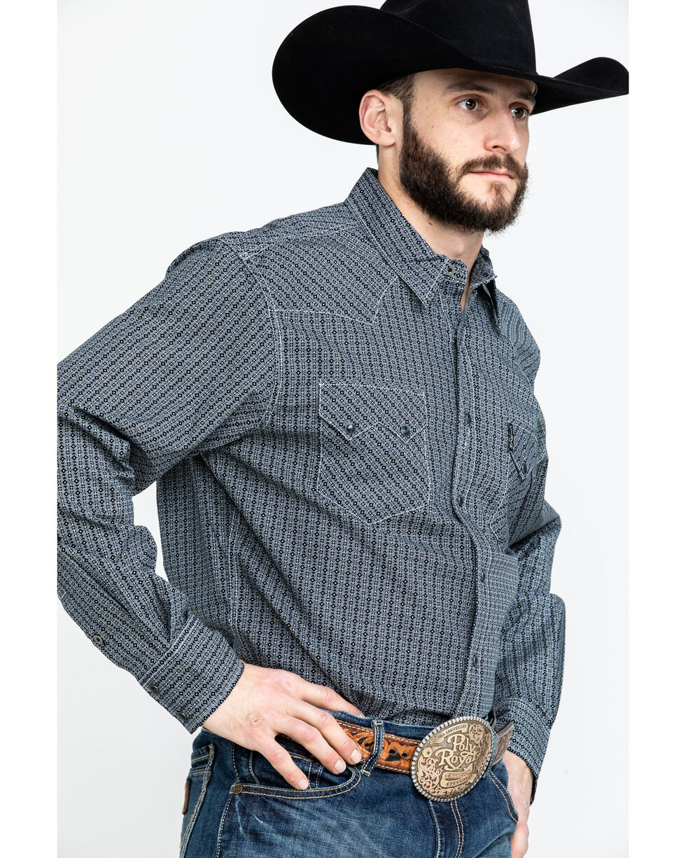 Moonshine Spirit Men's Tex Mex Floral Geo Print Long Sleeve Western Shirt , Black, hi-res