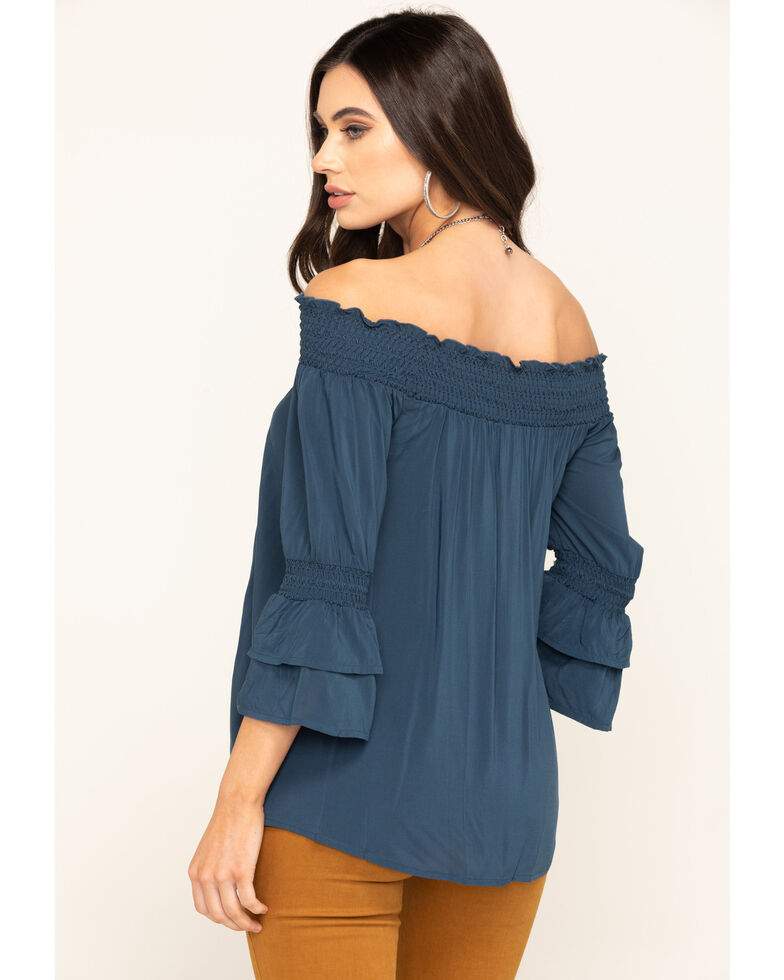 Wrangler Women's Chambray Off The Shoulder Top, Blue, hi-res