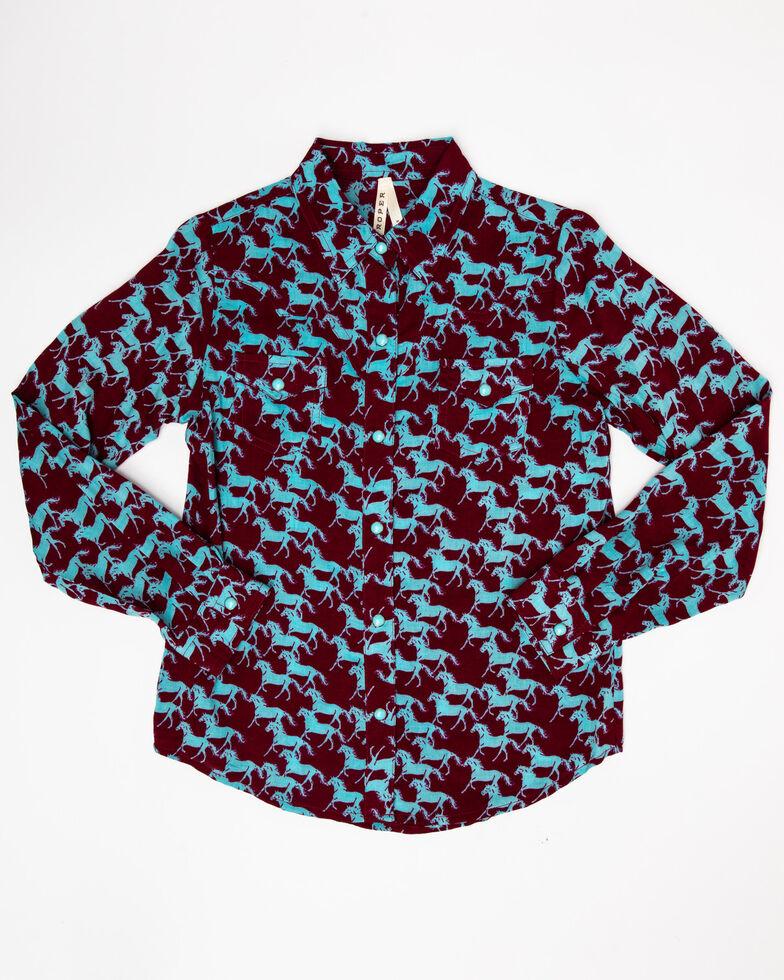 Five Star Girls' Stampede Print Snap Long Sleeve Western Shirt, Multi, hi-res