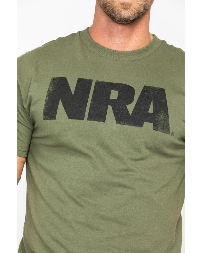NRA Men's Solid Heavy Distressed Logo T-Shirt , Olive, hi-res