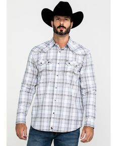 Cody James Men's Ghost Rider Plaid Long Sleeve Western Shirt - Big & Tall , Grey, hi-res